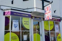 Ataque frontal de la oficina de UKIP en Harwich Imágenes de archivo libres de regalías