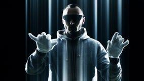 Ataque futurista del pirata informático, seguridad cibernética, futuro almacen de video