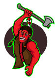 Ataque indiano com desenhos animados do vetor do machado ilustração stock