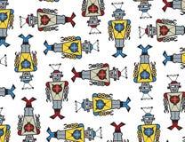 Ataque retro dos robôs! ilustração stock