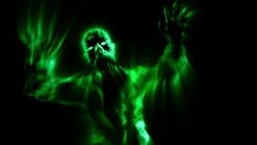 Ataque severo del zombi con los brazos abiertos en color verde stock de ilustración