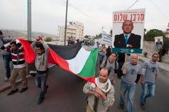 Ataques de Gaza de la protesta de los palestinos y de los israelíes imagen de archivo libre de regalías