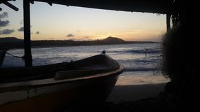 Sunset Sea. Atardecer en el Mar Cariben, Margarita, Venezuela Royalty Free Stock Photo
