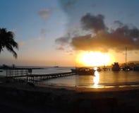 Atardecer O Puesta de Sol en Playa Concorde, Isla de Margarita Stockfotos