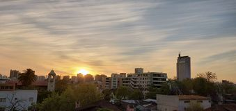 Sunset in Santiago Chile royalty free stock photography