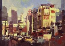 Atasco de la ciudad en la calle Foto de archivo
