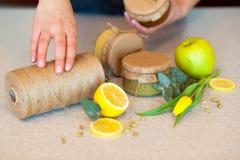 Atasco de la fruta con el limón y la manzana Fotografía de archivo
