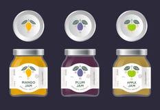 Atasco de la fruta de tres etiquetas Mango, manzana, etiquetas del atasco del ciruelo y paquetes Tres que empaquetan libre illustration