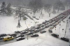 Atasco en invierno Imagenes de archivo