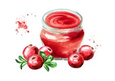 Atasco orgánico de la fruta Tarro de cristal de mermelada del arándano y de frutas frescas aisladas en el fondo blanco Illustra d Fotos de archivo libres de regalías