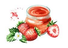 Atasco orgánico de la fruta Tarro de cristal de mermelada del strawbery y de frutas frescas aisladas en el fondo blanco Ilustraci Foto de archivo libre de regalías