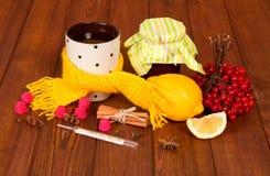 Atasco y bayas para el té para los fríos, la bufanda y el termómetro en la tabla Fotografía de archivo libre de regalías