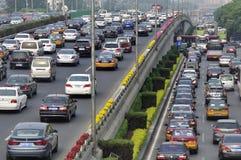 Atasco y coches pesados de Pekín Imagen de archivo libre de regalías