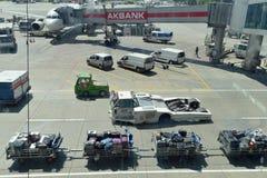 Ataturk Airport. Aircraft ground handling at Ataturk Airport Stock Image