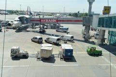Ataturk Airport. Aircraft ground handling at Ataturk Airport Stock Images