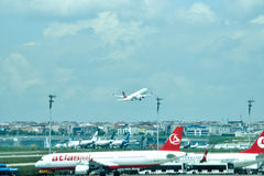 Ataturk Airport. Plane takes off at the Ataturk airport Stock Photos