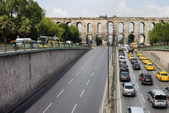 Ataturk Boulevard and Valens Aquedut in Istanbul Royalty Free Stock Photo