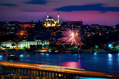 Ataturk bridge and cityscape Stock Images