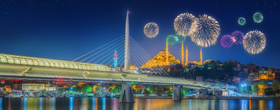 Ataturk bridge, metro bridge and beautiful fireworks, Istanbul Royalty Free Stock Images