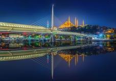 Ataturk bridge, metro bridge at night Istanbul Royalty Free Stock Image