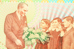 Ataturk with child symbolizes the revolution of new Turkish alphabet Royalty Free Stock Photo
