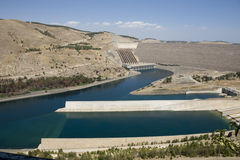 Ataturk Dam on the Euphrates River - Anatolia. (Turkish: Ataturk Barajı) -Built both to generate electricity and to irrigate the plains in the region - Sanlı Stock Images