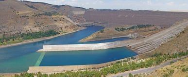Ataturk dam on Euphrates River Stock Photos