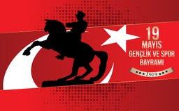 Ataturk för 19 mayis ` u Anma, design för Genclik ve Spor Bayrami hälsningkort 19 kan åminnelsen av den Ataturk, ungdom- och spor Arkivfoton