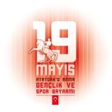 Ataturk för 19 mayis ` u Anma Genclik ve Spor Bayrami Royaltyfri Fotografi