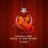 Ataturk för 19 mayis ` u Anma Genclik ve Spor Bayrami stock illustrationer
