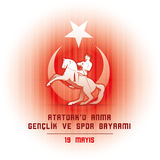 Ataturk för 19 mayis ` u Anma Genclik ve Spor Bayrami Arkivfoton