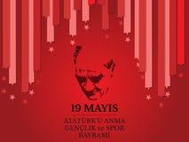 Ataturk för mayis för vektorillustration 19 ` u Anma, Genclik ve Spor Bayramiz, översättning: 19 kan åminnelsen av Ataturk, ungdo Royaltyfria Foton