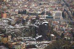 Ataturk mask in buca izmir city view. Royalty Free Stock Photography