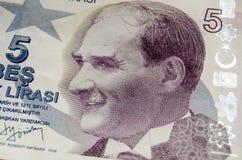 Ataturk sur le billet de banque de cinq Lires Photographie stock