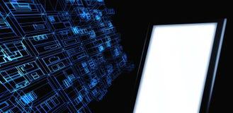 Ate con alambre el edificio de marco con la tablilla en blanco stock de ilustración