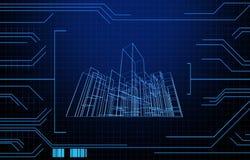Ate con alambre el edificio de marco en fondo de la tecnología Fotos de archivo libres de regalías