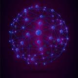 Ate con alambre la red de conexión del globo del marco con las bolas azules realistas Imagen de archivo