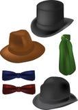 Ate el sombrero de ala del cilindro de la bufanda de la mariposa Fotos de archivo libres de regalías