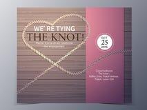 Ate la plantilla del vector de la tarjeta de la invitación de la boda del concepto del nudo