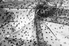 Ate la tela Cordón negro pequeño en el fondo blanco Añada un sutil Imagenes de archivo