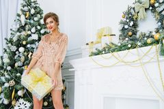 Ate o vestido para o Natal fotografia de stock royalty free