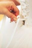 Ate para arriba el vestido de boda Fotografía de archivo libre de regalías