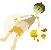 Ate too much. A boy has over-eaten on some junk food and is not feeling well Stock Illustration