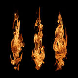 Ateie fogo à coleção abstrata das chamas isolada no fundo preto Foto de Stock Royalty Free