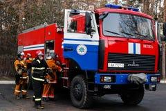 Ateie fogo à evacuação no lar de idosos na região de Gomel do Republic of Belarus Fotos de Stock