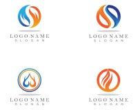 Ateie fogo ao logotipo da natureza da chama e ao molde dos ícones dos símbolos ilustração royalty free