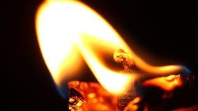Ateie fogo ao quadro da vela na noite escura video estoque