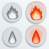 Ateie fogo ao vermelho das chamas, ajuste ícones, ilustração do vetor Fotos de Stock