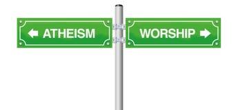 Ateizmu cześć religii Guidepost ilustracji