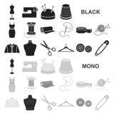 Atelier и шить черные значки в собрании комплекта для дизайна Оборудование и инструменты для шить символ вектора запасают сеть бесплатная иллюстрация